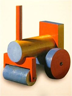 Painted wooden steamroller toy, Czechoslovakia, 1927, by Ladislav Sutnar.