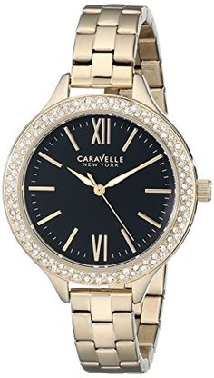 Caravelle New York Womens 44L126 Analog Display Japanese Quartz Yellow Watch * Click image to review more details.