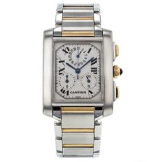 Cartier Tank Francaise Chronoflex 18K Yellow Gold & Steel Quartz Mens Watch #Cartier #LuxurySportStyles