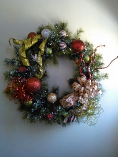 Fake wreath just add finishing touches.