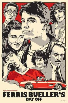 FERRIS BUELLER'S DAY OFF  Joshua Budich  €50.00 Presented during the artist exhibition 'Pop Culture Delicatessen' at the French Paper Gallery (Feb. 2016).  ARTIST: JOSHUA BUDICH   Archival Pigment Print Numbered Limited Edition of 50 Size: 24 x 36