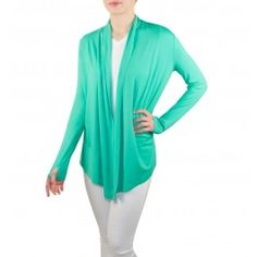 Brela - Open Cardigan    Sun Protective Clothing, UPF 50.  A must-have cardigan, easy to layer for warmth and sun protection. The Brela can be worn as a coverup, over a sundress, or with workout gear. The sleeves have thumbholes to protect the upper hand.