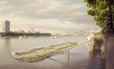 Studio Octopi Proposes Floating Swimming Pool in the Thames,The latest iteration of the design proposed for Victoria Embankment. Image © Studio Octopi / Picture Plane