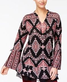 Style & Co Printed Peasant Top, Created for Macy's - Black XXL