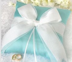 Tiffany Blue Ring Pillow White Ribbon wedding ring pillow