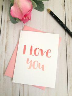 Printable I Love You Valentine's Day Card - Romantic valentine - hand lettered valentine- downloadable valentine card - diy valentine card #ad