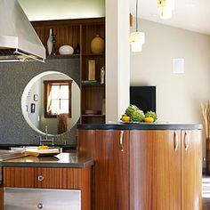 Fabulous barn style by Monterey Bay | Circular kitchen island | Sunset.com
