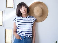 Blue Stripes Sleevles Top // Striped Muscle Tee