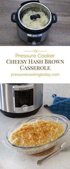 This Pressure Cooker Cheesy Hash Brown Potato Casserole is pure comfort food. It's a hot, creamy, cheesy, delicious, hash brown casserole with a crispy topping and it's quick and easy to make in the pressure cooker. Cheesy Hashbrowns, Crockpot Breakfast Casserole, Hashbrown Breakfast Casserole, Hash Brown Casserole, Potato Casserole, Casserole Recipes, Pressure Cooking Today, Pressure Cooking Recipes, Pots