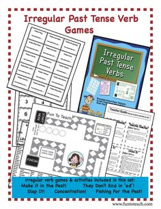 Irregular Past Tense Verb Game- English Grammar and Vocabulary Unit Plan -    33 pages filled with teaching ideas, activities and games to practice using irregular past tense verbs.   Game Board Game Cards Word Cards  Just copy, cut and play!   $