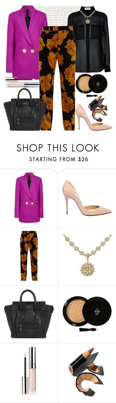 """""""Fuchsia Friday"""" by shopunder ❤ liked on Polyvore featuring Petar Petrov, Yves Saint Laurent, Christian Louboutin, Gucci, CÉLINE, SkinCare, By Terry and Bobbi Brown Cosmetics"""