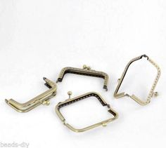 8 Bronze Tone Purse Bag Metal Frame Kiss Clasp Lock 9x5.7cm