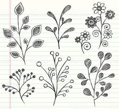 Hand-Drawn Sketchy Notebook Doodles Leaves royalty free stockvectorbeelden