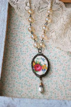 Rose bouquet. vintage beaded,romantic,floral,shabby chic necklace. Tiedupmemories