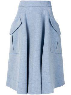 Chambray midi skirt Powder blue cotton-linen blend Chambray midi skirt from Carven. Modest Fashion, Hijab Fashion, Fashion Outfits, Chambray Skirt, Modest Skirts, Midi Skirts, Calf Length Skirts, Carven, Moda Online