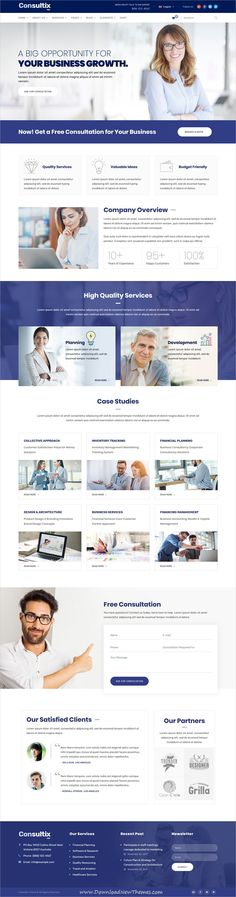 Consultix is clean and modern design responsive #WordPresstemplate for professional corporate #business and financial services website with 14 niche homepage #layouts to live preview & download click on image or Visit