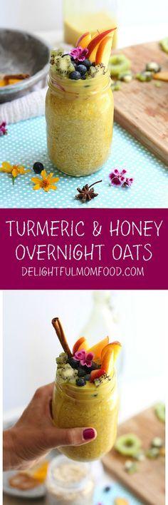 MUST MAKE! Overnight Oats: Fruit on Golden Milk Oats - yumm! #turmeric #honey #goldenmilk #overnightoatmeal