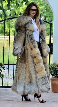 c69fe2f9f849 New gold cross fox long fur coat hood class- chinchilla sable jacket mink  silver