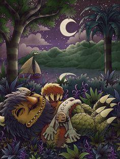 Illustration by Josh Holland  ||  Tribute to Maurice Sendak  (June 10, 1928 – May 8, 2012).
