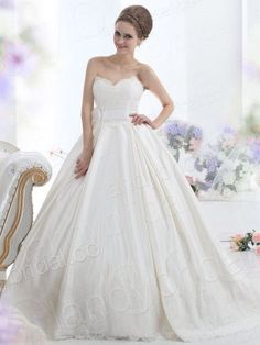 Ball Gown Sweetheart Chapel Train Satin Ivory Wedding Dress Lbldb12098