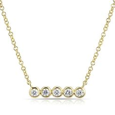 """White Gold Bezel Set Diamond Short Bar Faith Necklace Necklace chain measures with adjustable clasp Bar measures approximately in length SKU Carat Weight Metal Type White Gold Number Stones 5 Primary Stone Diamond """"Jewelry"""" Bar Necklace, Jewelry Necklaces, Solid Gold, White Gold, Crescent Necklace, Look 2018, Gold Shorts, Necklace Online, Layering Necklaces"""