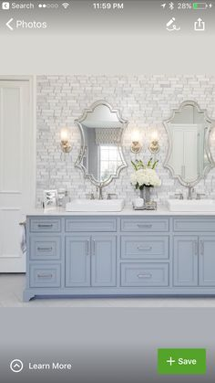I really the idea of all white for Kids bathroom and the cabinets being a grey blue or fun color Downstairs Bathroom, Bathroom Renos, Master Bathroom, Dream Bathrooms, Beautiful Bathrooms, Bathrooms Decor, Bathroom Ideas, Master Bath Remodel, Bathroom Design Luxury