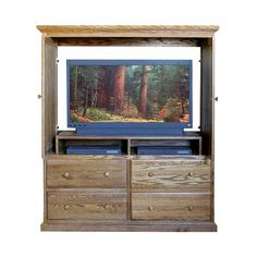 FD 3066T   Traditional Oak 4 Drawer TV Armoire With Doors
