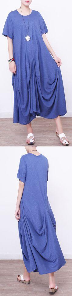 e093272f981 Women blue linen maxi dress oversize o neck linen maxi dress 2018  asymmetric kaftans