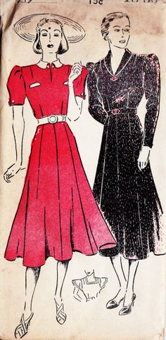 1930s Misses Dress Vintage Sewing Pattern New by MissBettysAttic