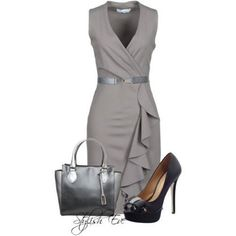 grey dress, pumps, purse