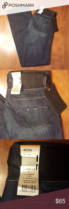 G-Star jeans women's tomboy parent size 29 Carter These g-star jeans are new with tags. See photo 4 specifics. Waist 29 length 32. Very nice dark denim. G-Star Jeans Straight Leg