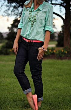 Mint Gingham Shirt @T..J.Maxx #fabfound @Donna Maywald Navy skinny jeans @Gap flats and belt