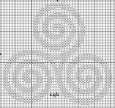 Free Triple Spiral Cross Stitch Pattern - Triskele Symbol