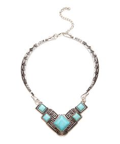 Look at this Patina Silvertone & Turquoise Howlite Geo-Engraved Choker on #zulily today!