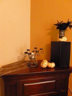 A creepy but classy Halloween mantel