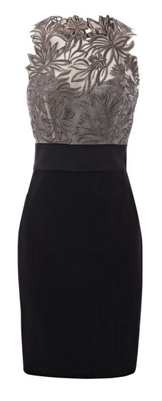 Grey floral embroidered black dress fashion - looking for more color, but love this cut.