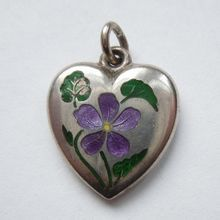 Sterling Silver Puffy Heart Charm - Enamel Violet - Engraved Rafe
