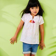 Blusa estampada com pompons, para menina