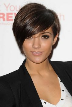 Frankie sandford wearing her hair in a short asymmetrical cut with one side clipped high around her ear and the other side looking like a bob. Description from women-haircut.com. I searched for this on bing.com/images
