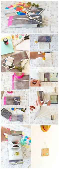 DIY collecters book made with some strong paper, little paper bags and precious pieces to collect (source unknown). Bath Fizzies, Bath Salts, Cute Bathing Suits, Buffet, Paper Bags, Homemade, Strong, Cards, How To Make