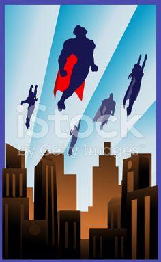 Art Deco Style Flying Superheroes Illustration royalty-free stock vector art