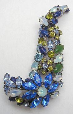 Schreiner Sweeping Curved Rhinestone Brooch - Garden Party Collection Vintage Jewelry