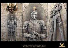 """Барельеф """"Рыцарь"""" , Выполнен в частном интерьере, входная группа"""