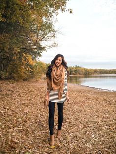 how to wear leggings: cover up with a longer tunic tee + blanket scarf, finish with ankle booties!