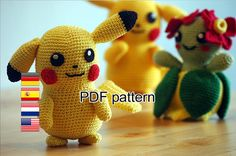 I had to crochet the most famous Pokemon of them all: Pikachu! Also think it\\\'s one of the cutest Pokemon. This amigurumi pattern is FREE. Pikachu Pikachu, Crochet Pikachu, Pokemon Crochet Pattern, Crochet Patterns Amigurumi, Amigurumi Doll, Crochet Gratis, Crochet Geek, Diy Crochet, Minion Pattern