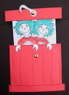 Dr. Seuss' Cat in the Hat - Thing 1 and Thing 2 Craft - would be a cute teacher model