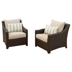 """Set of two hand-woven outdoor accent chairs with Sunbrella fabric cushions.   Product: Set of 2 club chairsConstruction Material: Polyethylene wicker, aluminum and Sunbrella fabricColor: Brown and light greyFeatures:  UV, weather and fade resistantCushions included Dimensions: 31"""" H x 29.5"""" W x 33"""" D eachCleaning and Care: Easy to clean frame, simply rinse clean with hose and mild cleanser"""