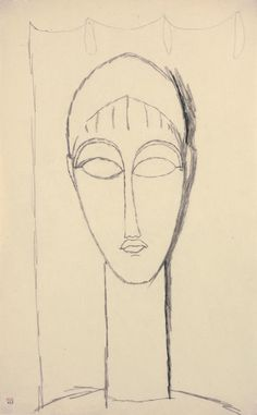 Modigliani drawings : female head, black crayon 1911. - Dibujo de Amedeo Modigliani, cabeza de mujer, crayón 1911