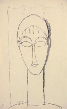 Modigliani drawings : female head, black crayon 1911. - Dibujo de Amedeo Modigliani, cabeza de mujer, crayón 1911