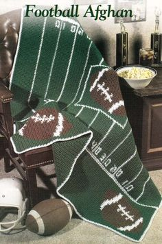 Football Afghan Crochet Pattern Design by: Connie L Folse Size: x Materials needed: worsted weight yarn & a size H crochet hook, or size needed to obtain gauge. Pattern has been carefully removed from a crochet magazine and is in li. Graph Crochet, Pixel Crochet, Crochet Quilt, Crochet Home, Crochet Crafts, Crochet Baby, Crochet Projects, Knit Crochet, Yarn Crafts